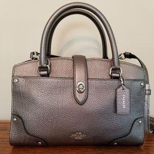 New COACH metallic gray leather Mercer Satchel 24